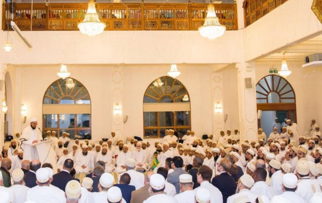 Guest and members of the Bohra community inside the Masjid
